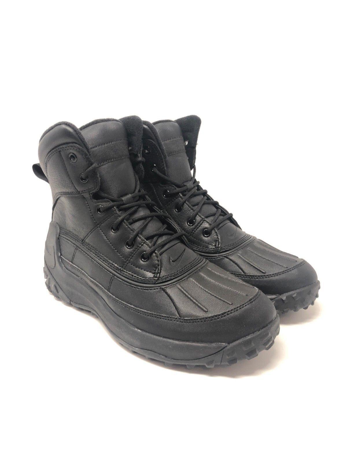 Nike Kynwood Triple Black Leather Duck Boots 862504-001 Men's [Multi Size]