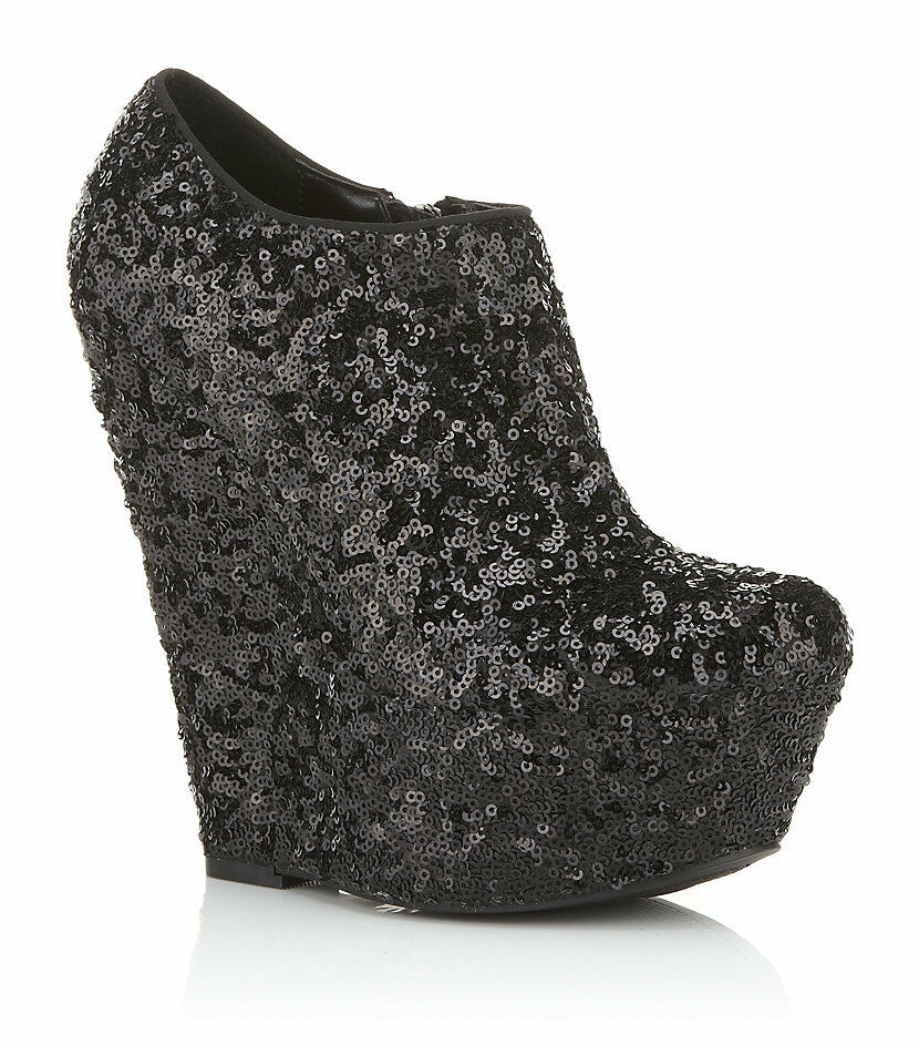 KURT GEIGER CARVELA BLACK SEQUIN WEDGE PLATFORM BOOTS .. UK 7  EU 40 MORE LISTED