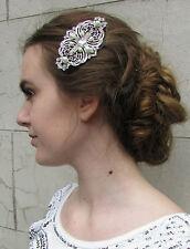 Art Deco Silver White Pearl Large Hair Comb 1920s Vintage Flapper Bridal 30s R09