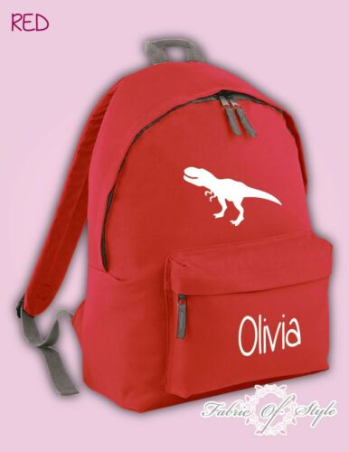 Personalised Kids Backpack Dinosaur T-REX Name  Girls Boys Back To School Bag