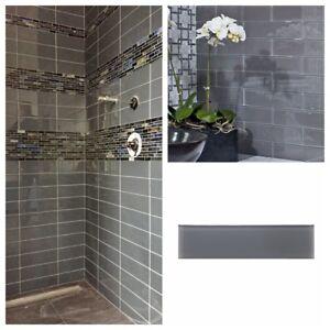 Pebble Gray Glass Subway Tile For Kitchen Bachsplash Bathroom Wall