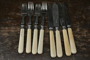 Lovely-Vintage-Silver-Silver-Plate-4-Forks-and-Knives-Faux-Bone-Handles-KR-amp-H