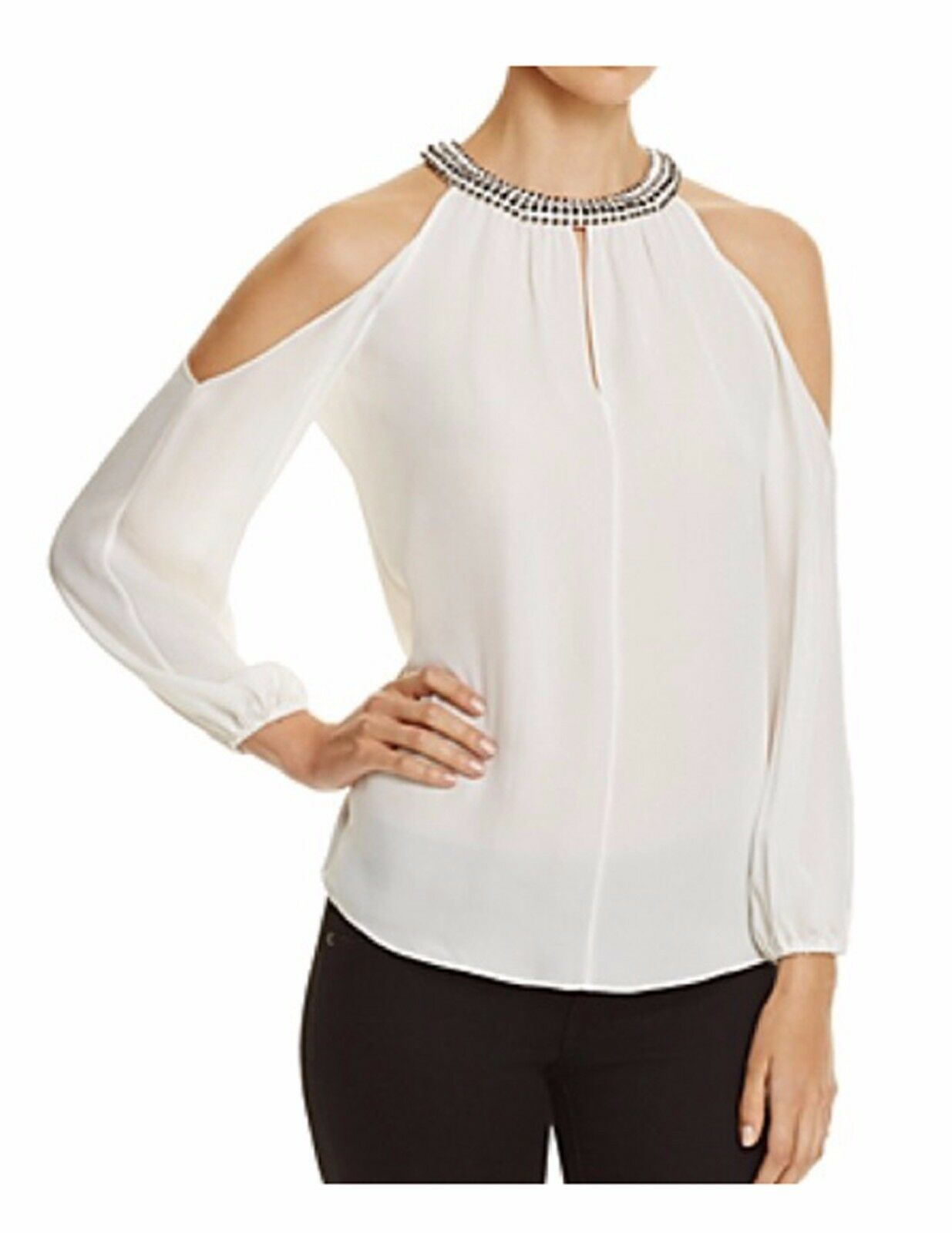 NWT  398 Kobi Halperin Women's Valarie Embellished Cold Cold Cold Shoulder Top Blouse S f88cc9