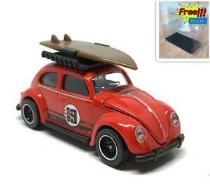 Majorette-Volkswagen-VW-Beetle-Red-no-19-with-Surf-Board-Vintage-1-64-no-Package