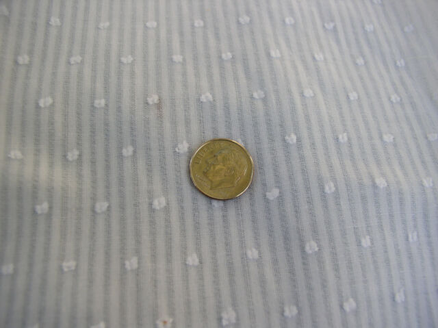 Vintage looking White  Semi Sheer Dimity Stripe Clip Dot Dolls, Curtains, Skirts