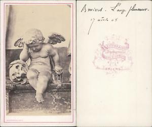 Kaltenbacher-France-Amiens-l-039-Ange-pleureur-Vintage-CDV-albumen-carte-de