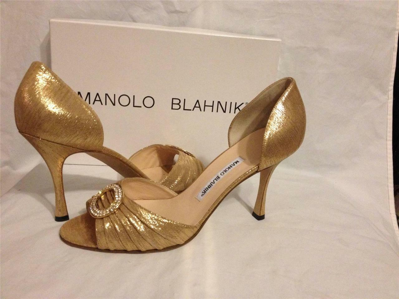 Manolo Blahnik sedaraby d'Orsay Piel De Oro Oro Oro Joya Cristal Bomba Tacones zapatos  755 c909f8
