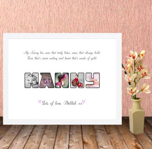 Nanny Personalised HQ Box Frame Print Nan Grandma Christmas Gift NG1