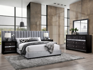 NEW-5PC-Queen-King-Modern-Gray-Velvet-Wall-Bed-2-Nightstands-Dresser-Mirror