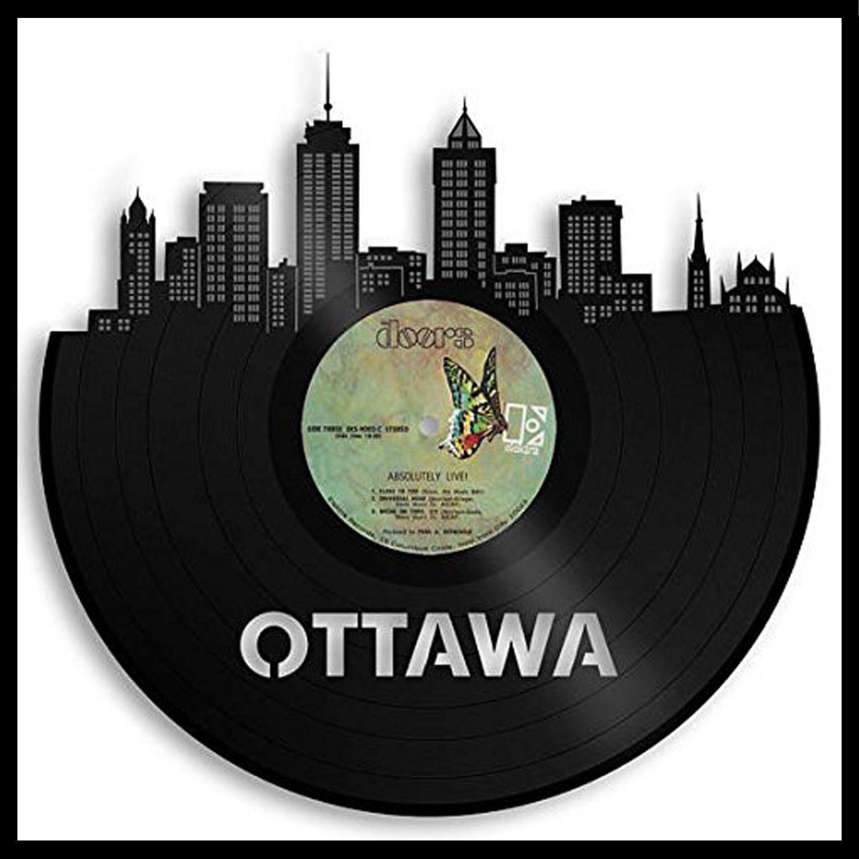 Ottawa Vinyl wand kunst City Skyline Anniversary Record Gift bettzimmer Decor Framed