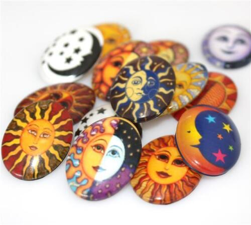 10 OVAL SUN /& MOON PRINTED CLEAR GLASS DOMED CABOCHONS 25mm x 18mm CAB5
