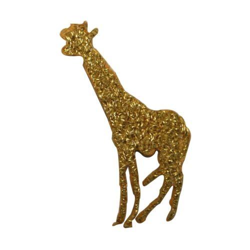 ID 3571 Gold Giraffe Symbol Patch Wild Safari Embroidered Iron On Applique