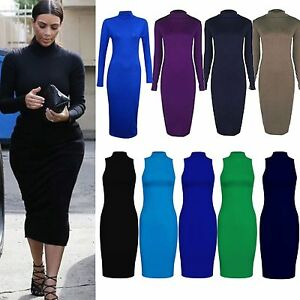 New-Ladies-Dress-Maxi-Womens-Bodycon-Long-Turtle-Polo-Neck-Midi-Plain-Stretch