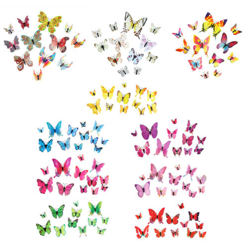 12pcs 3D Butterfly Wall Stickers PVC Children Room Decal Home Decoration US