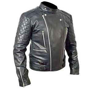 Brando Motorcycle Biker Men/'s Black Top Grain Leather Jacket BNWT