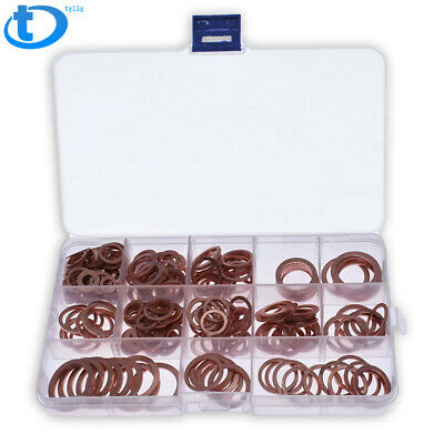 280Pcs//Kit Solid Copper Crush Washers Seal Sealing Flat O-Ring Gaskets Assorted