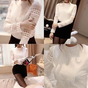 Fashion-Women-039-s-Crew-Neck-Solid-Long-Sleeve-Hollow-Out-Lace-Blouse-White-Shirts