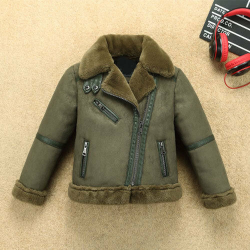 Outerwear Leather Jackets Coat Kids Boys Girls Biker Fleece fur collar snowsuits