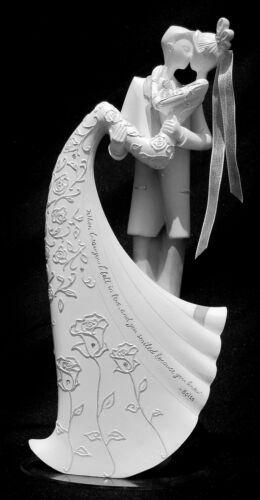 "NIB ROMAN INC GINA FREEHILL /""KISS/"" BRIDE /& GROOM WEDDING CAKE TOPPER STATUE 9/"" H"