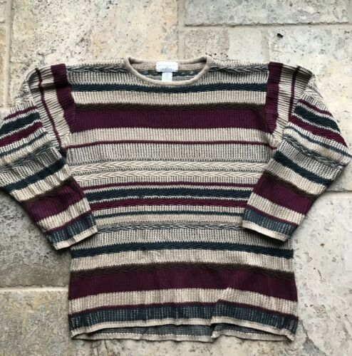 Vintage Textured Striped Knit Abstract Sweater