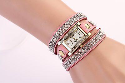 Women Vintage Fashion Crystal Band Bracelet Dial Quartz Dress Wrist Analog Watch