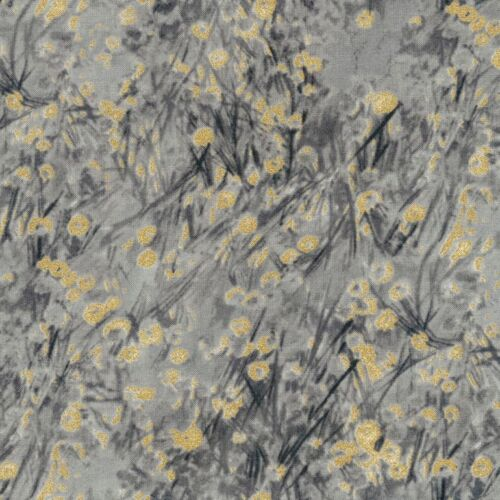 Metallic Abstract Ditsy Floral Cotton Timeless Treasures Fabric Zephyr Grey