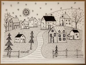 Country-Landscape-PEN-and-INK-ORIGINAL-Drawing-FOLK-ART-9-x-12-inch-Karla-Gerard