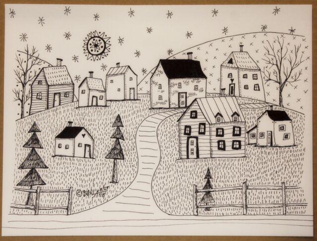 Country Landscape PEN and INK ORIGINAL Drawing FOLK ART 9 x 12 inch Karla Gerard
