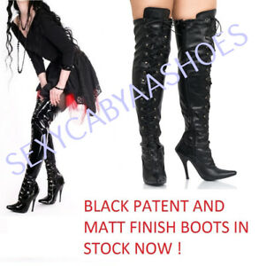 3627188ef5b Details about LADIES SEXY OVER THE KNEE HIGH HEEL FETISH LACE UP THIGH HIGH  KINKY BOOTS SIZE