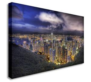 Details about Hong Kong City Nights Wall Art Canvas Prints Art Cheap