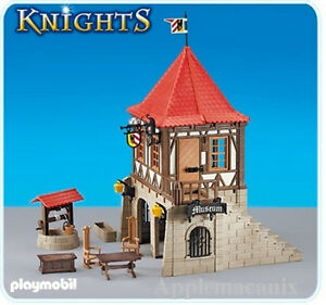 New playmobil knights 6307 medieval museum house w well for Table playmobil