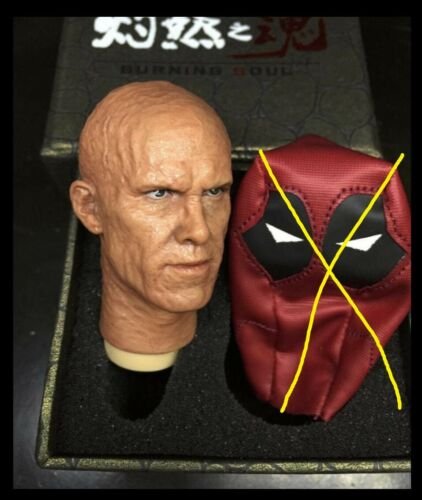 "1//6 Ryan Reynolds Deadpool Head battled NO Mask for hot toys 12/"" body ❶USA❶"