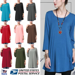 Women-039-s-Long-Tunic-Top-3-4-Sleeve-Dolman-Boat-Neck-USA-Dress-S-M-L-1X-2X-3X-PLUS