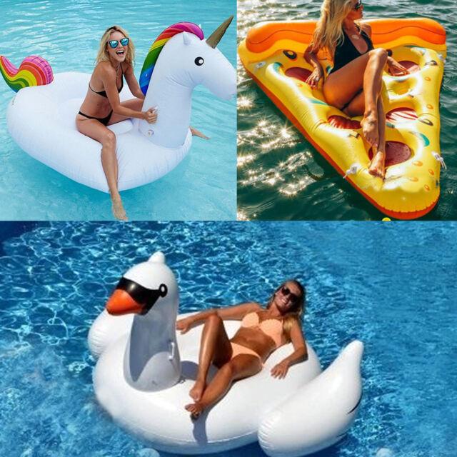 Giant Inflatable Unicorn Rainbow Pool Float Raft Swim Fun Water Sport Beach Toys
