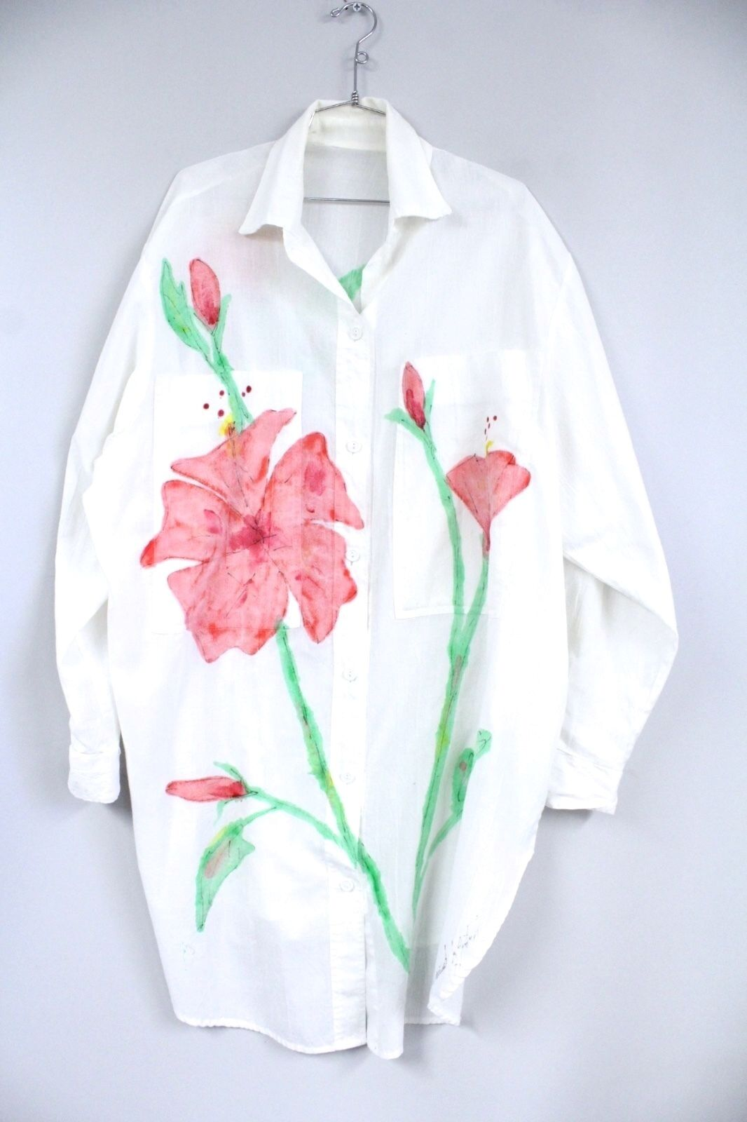 Signed Hand Painted Summer Shirt Dress Tunic Beach Coverup Poly Cotton One Size