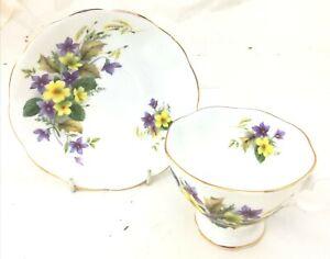 Vintage-Royal-Albert-Teacup-3-1-2-034-amp-Saucer-England-Bone-China-Floral-Pattern