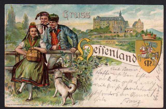 68957 AK Gruss aus dem Hessenland Tracht Nidda 1904