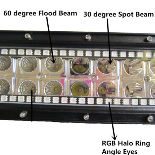 42inch 240W Curved Led Offroad Light Bar with RGB halo Ring /& Wiring kits