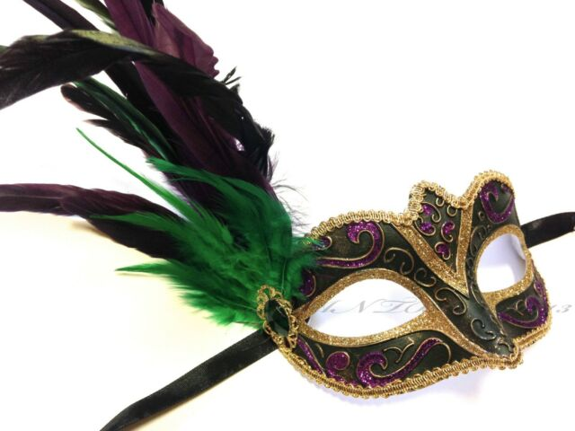 New Venetian Dark Green Masquerade Mardi Gras Costume Party Mask with Feather