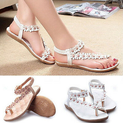 Newest Fashion Summer Lady Girl Floral Flat Shoes Beach Sandals Thongs Slippers