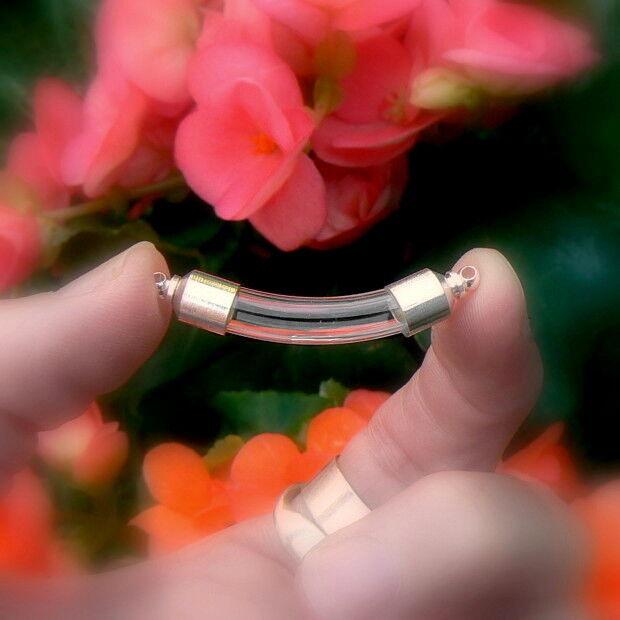10 Vials Pendants CURVED TUBES miniature/glass/bottles/bottle/beads/keepsake 6mm