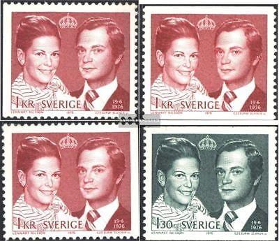 Schweden 952a,dl,dr,953a Postfrisch 1976 Königliche Hochzeit kompl.ausg.