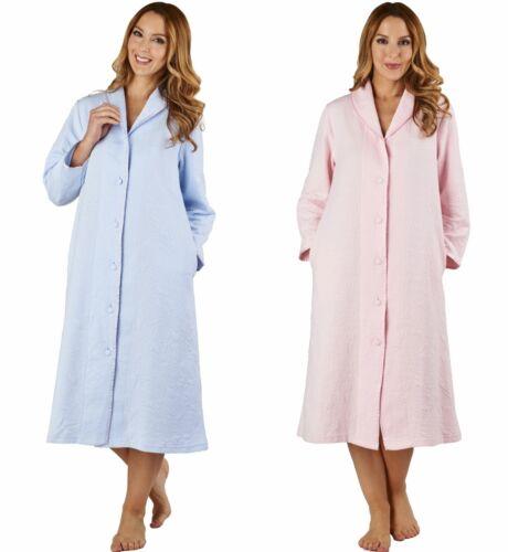 Premium Cotton Mix Fabric Slenderella Womens Button Through Robe Dressing Gown