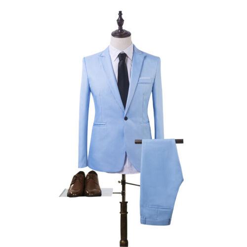 Herren Business Anzug Slim Fit Smoking Sakko Lange Hose Hochzeit Party Bräutigam