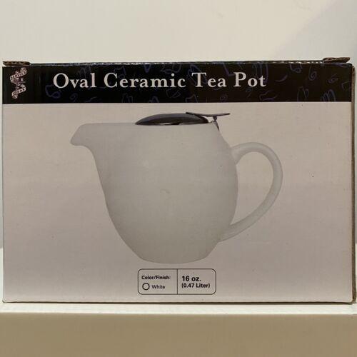 NEW  Service Ideas TPCV16WH 16 oz Oval Tea Pot White Ceramic Steel Lid /& Infuser