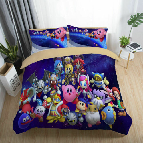 3D Galaxy Kirby King DeDeDe Kids Bedding Set Duvet Cover Quilt Cover Pillowcases