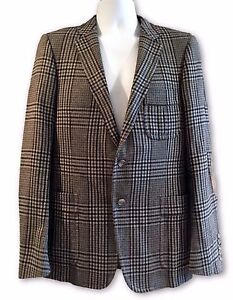 60bf9a315 GUCCI MEN'S GRAY CHECK WOOL BLAZER, ELBOW PATCHES, 50, $2650 | eBay