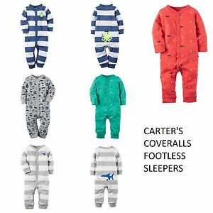 4bf4d32949 Image is loading NWT-Carters-Baby-Boy-Footless-PJ-Coveralls-Jumpsuit-