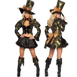 damen kost m mad hatter m rchen verr ckter hutmacher alice im wunderland kleid ebay. Black Bedroom Furniture Sets. Home Design Ideas