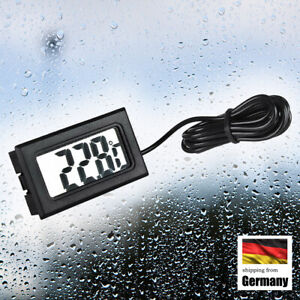 LCD Digital Temperatur Thermometer mit Kabel Fühler Außen Sensor kabelgebunden